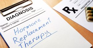 Clipboard with medical form and sign Hormone Replacement Therapy; blog: A Guide to Different Types of Hormone Replacement Therapy